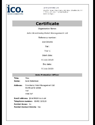 ICO Registration Certificate July 2020